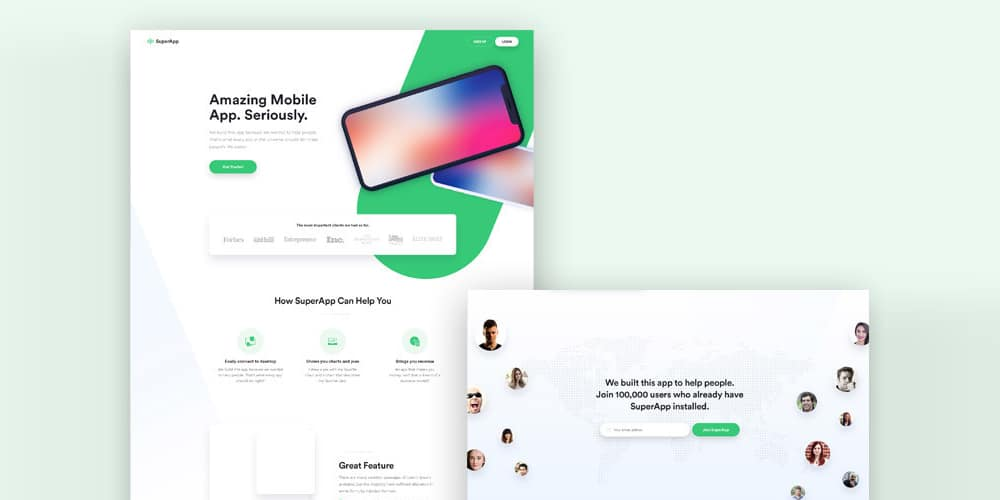 Landing Page Template PSD for App Presentation