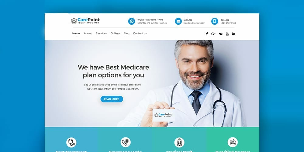 Medical Hospital Web Template PSD