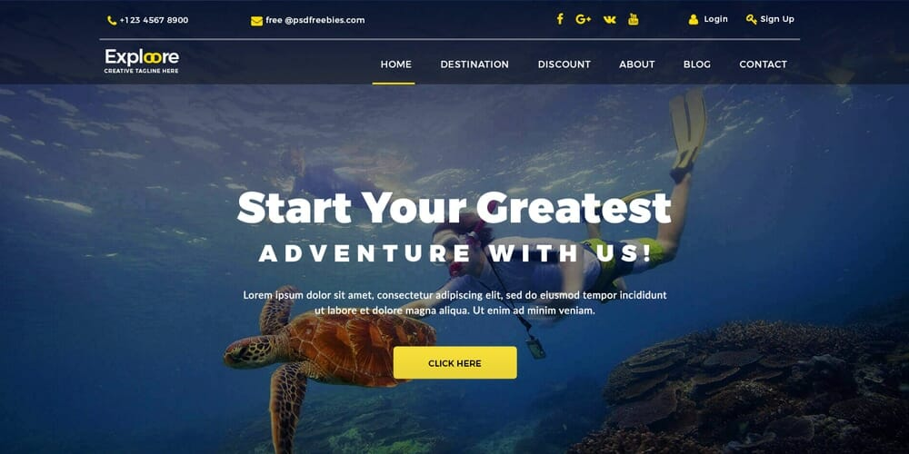 Travel Tour Booking Web Template PSD