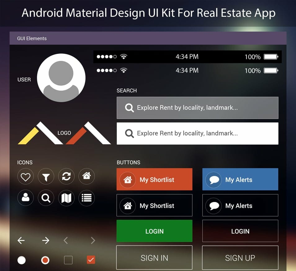 Android Material Design UI Kit For Real Estate App