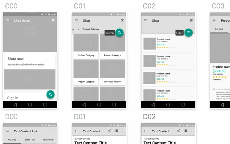 Material Design Wireframe Kit