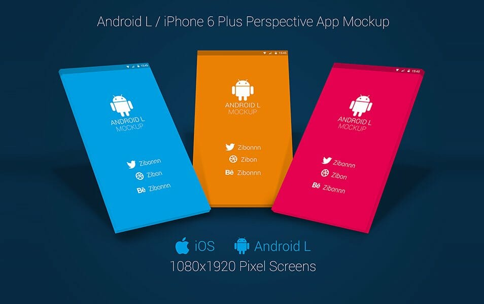 Android L / iPhone 6+ Perspective App Mockup for Free