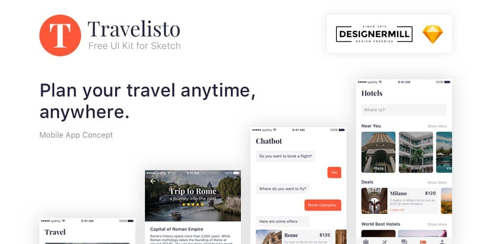 Travelisto Sketch UI Kit Free