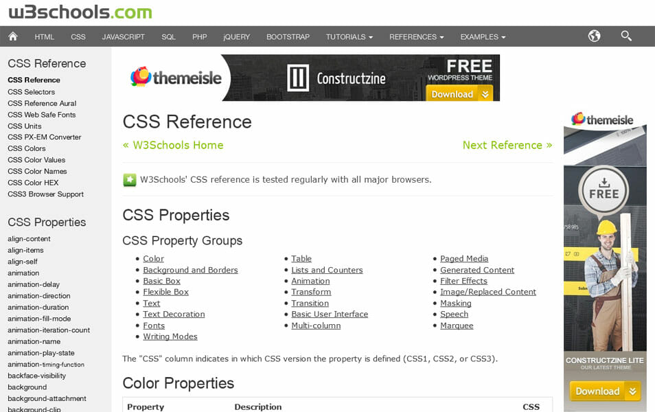 W3Schools CSS Reference