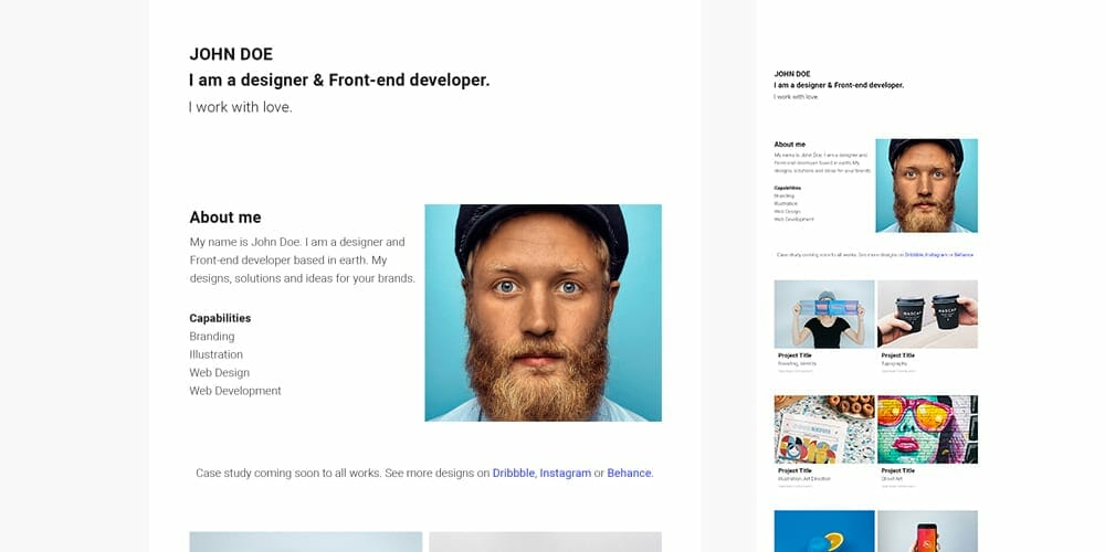 Free Simple & Minimal Portfolio Web Template PSD