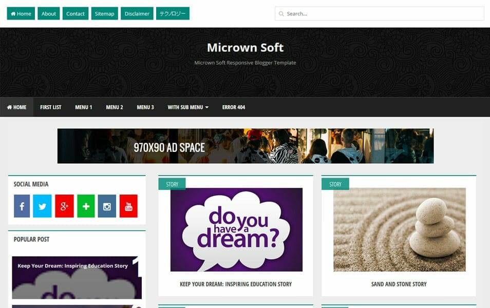Micrown Soft Responsive Blogger Template