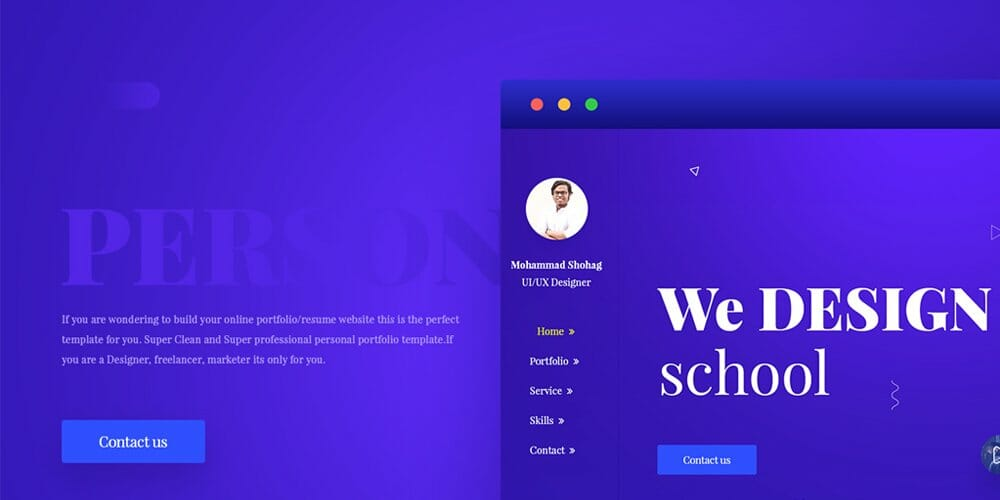 free portfolio website templates psd css author