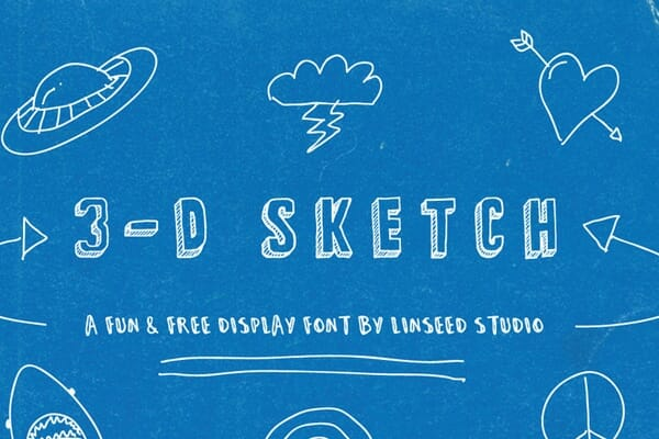 3-D Sketch Hand Drawn Display Font