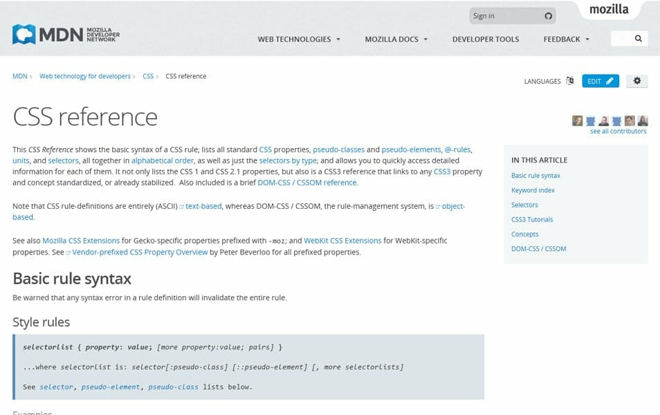 CSS reference | MDN