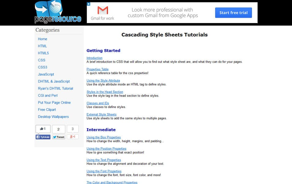 Cascading Style Sheets Tutorials