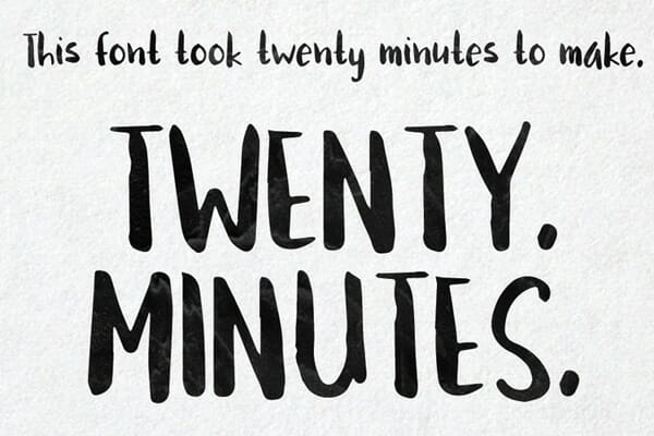 Twenty Minutes Brushed Handwriting Font