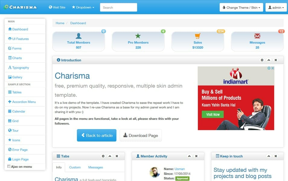 Charisma Responsive Multiple Skin Admin Template