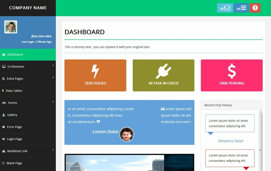 Responsive Bootstrap Advance Admin Template