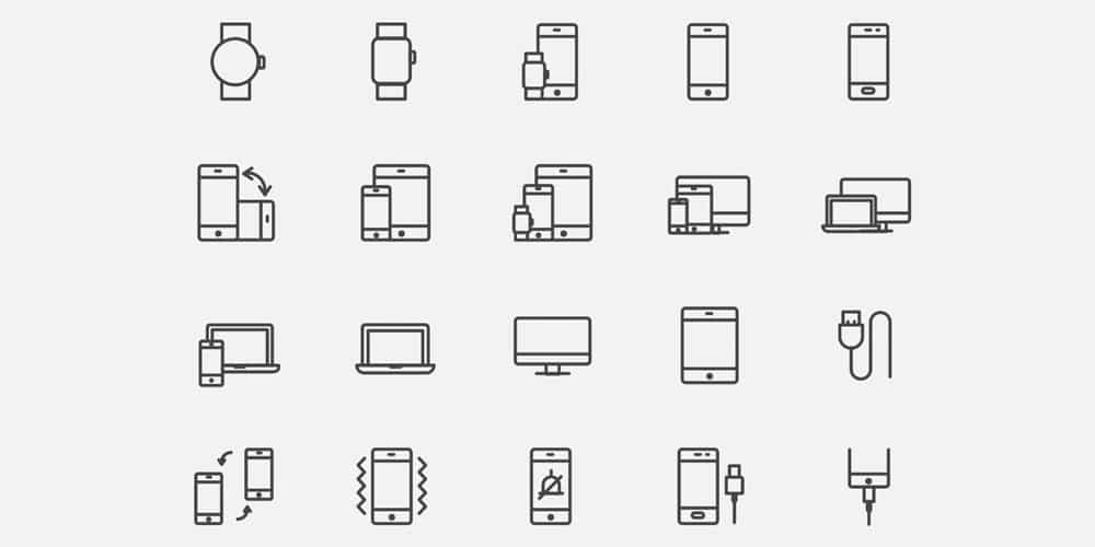 Device Line Icons Vector
