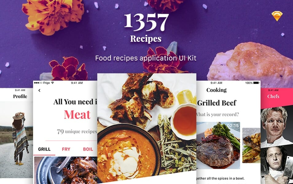 1357 Recipe App UI Kit