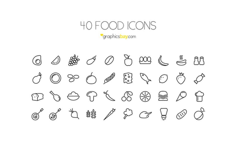 40 Food Icons PSD