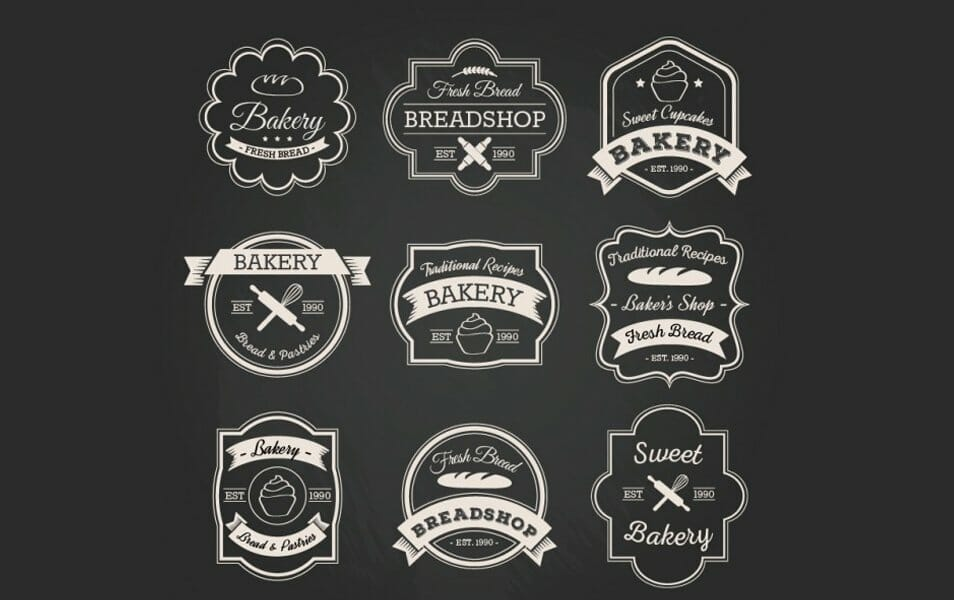 Bakery badge collection in retro style