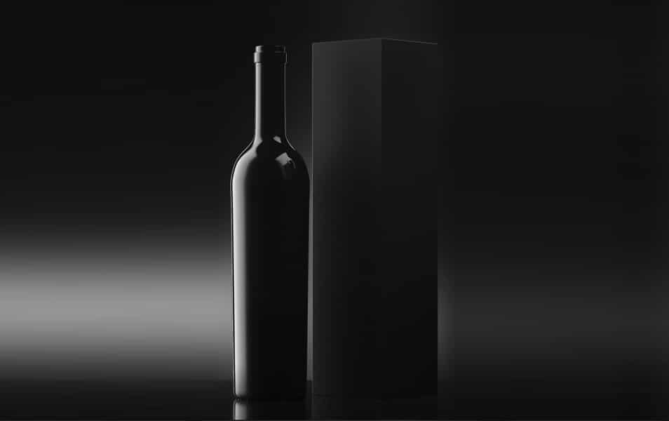 Black Wine Bottle with Box Mockup