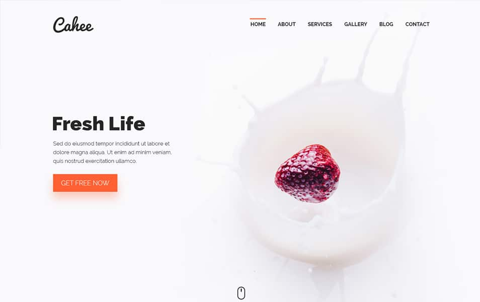 Cahee Food Blog Template Free PSD