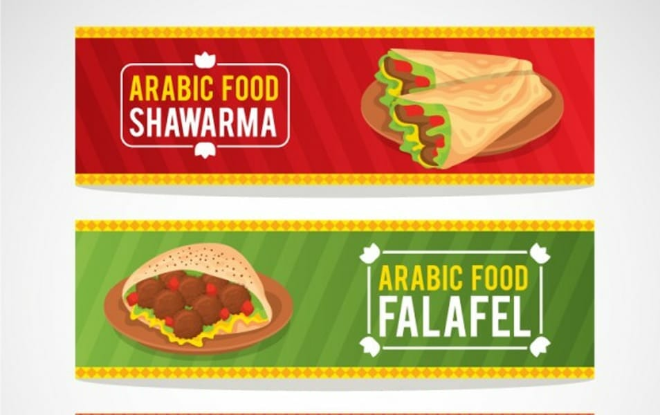 Colored food arabic banners