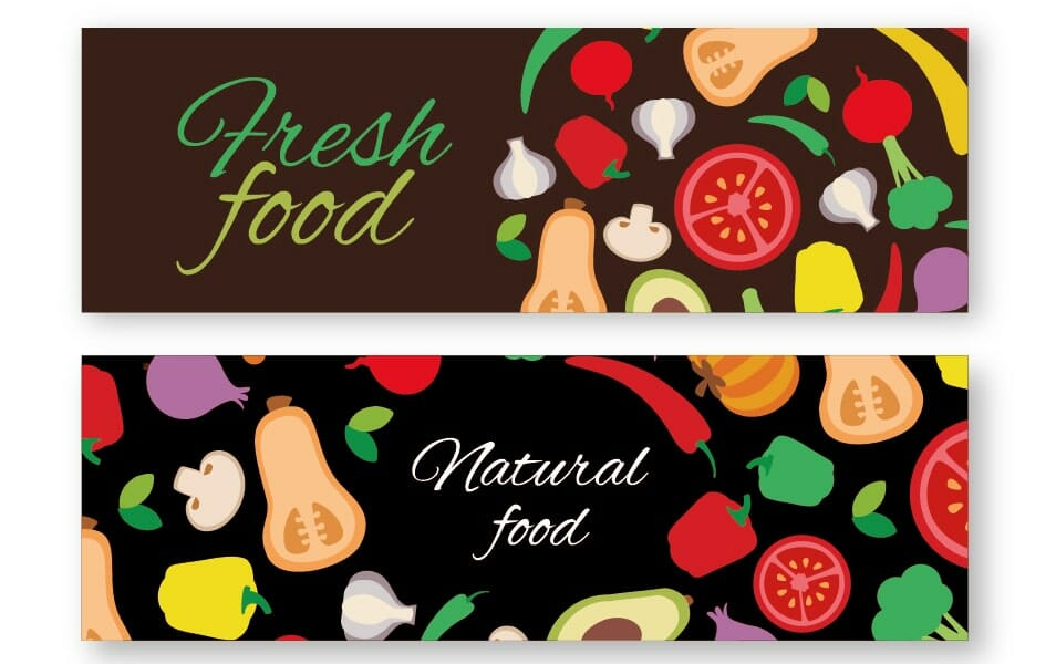 Colorful vegetables banner set