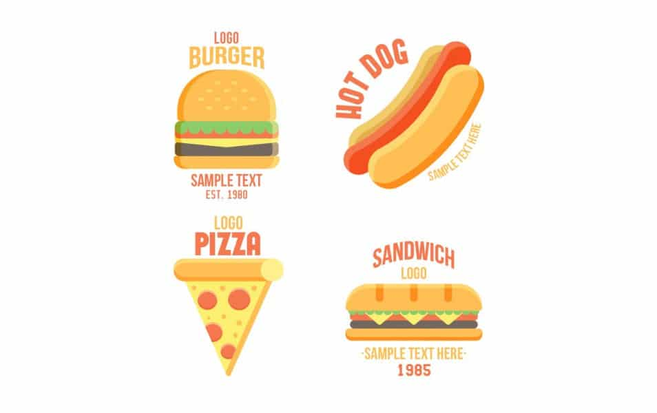 Fast Food Restaurant Flat Logos Collection