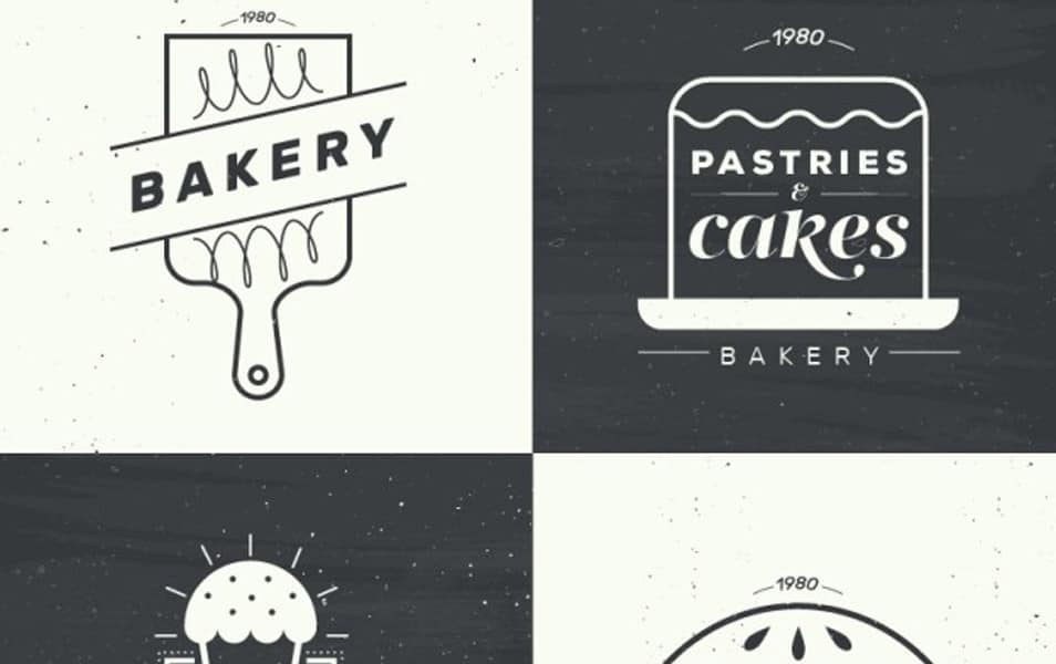 Flat Bakery Logotypes in Vintage Style