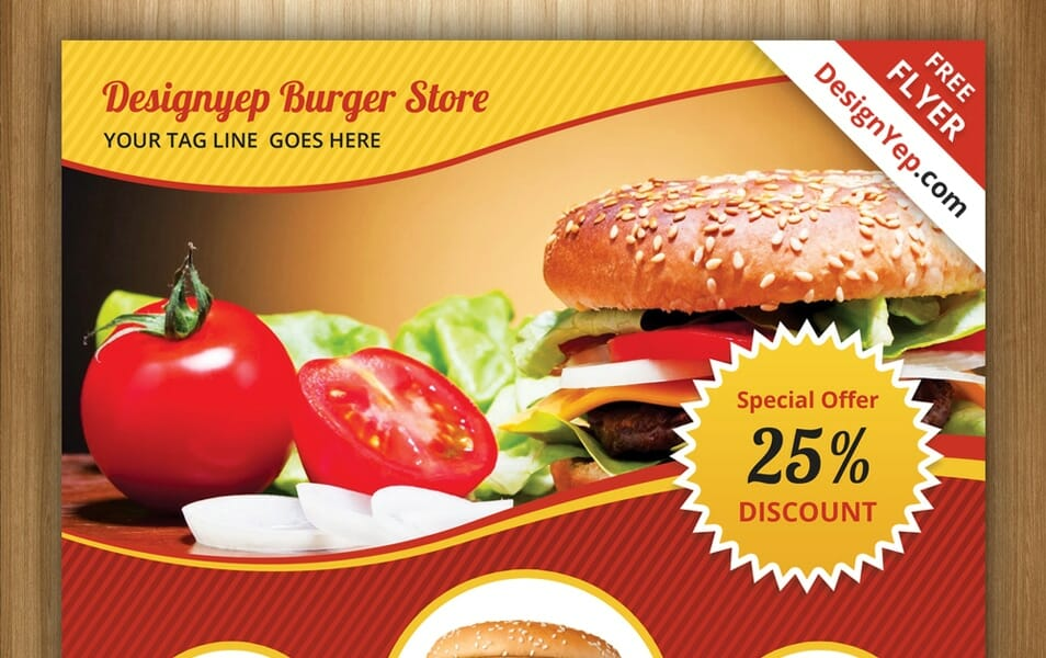 Free Burger Store Flyer PSD Template