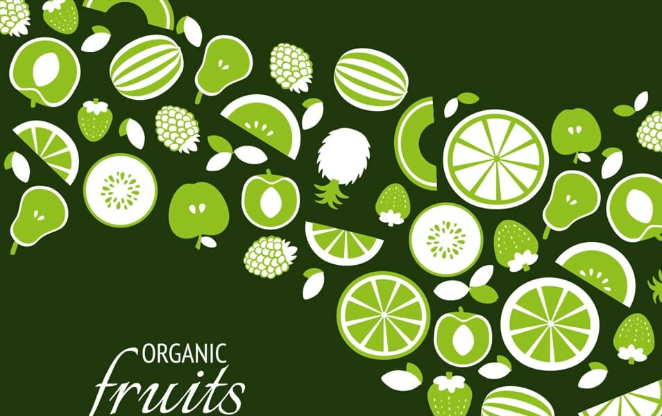 Green organic fruit backdrop
