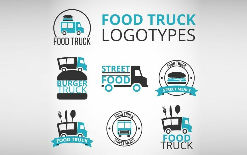 Hand drawn food truck logos with blue details