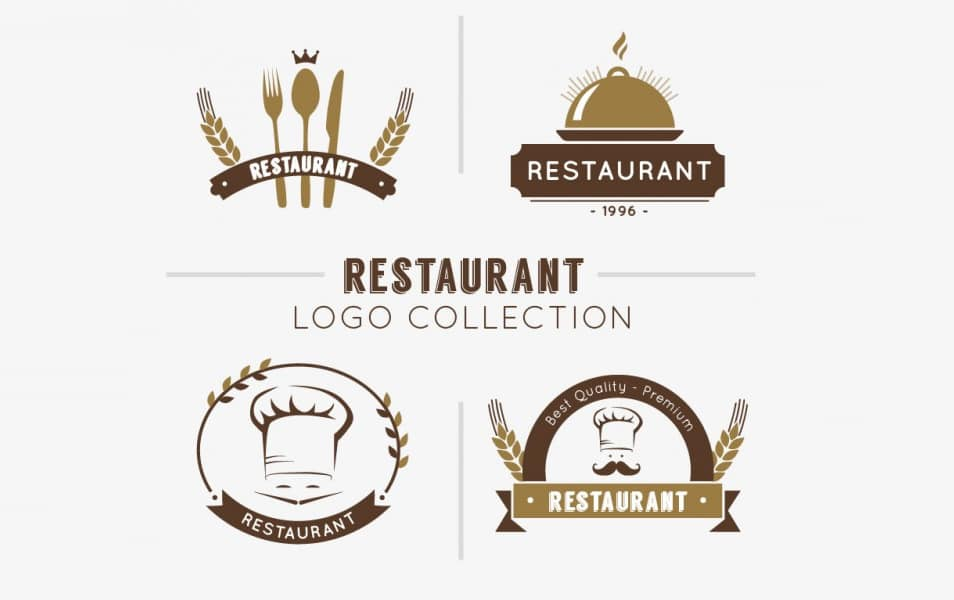 Hand drawn restaurant logo collection