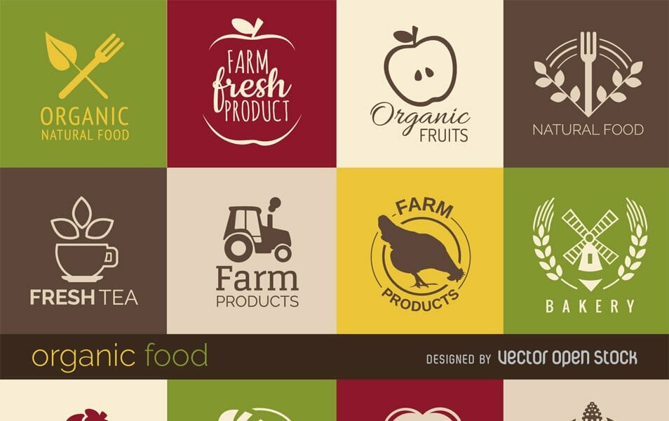 Healthy food signs and badges set