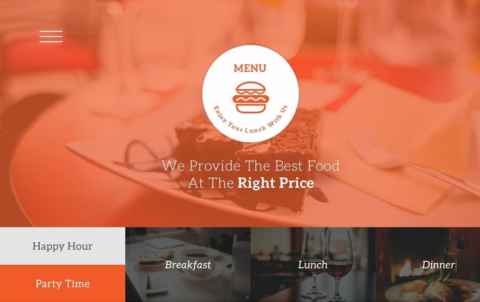 Menu One Page Restaurant PSD Template