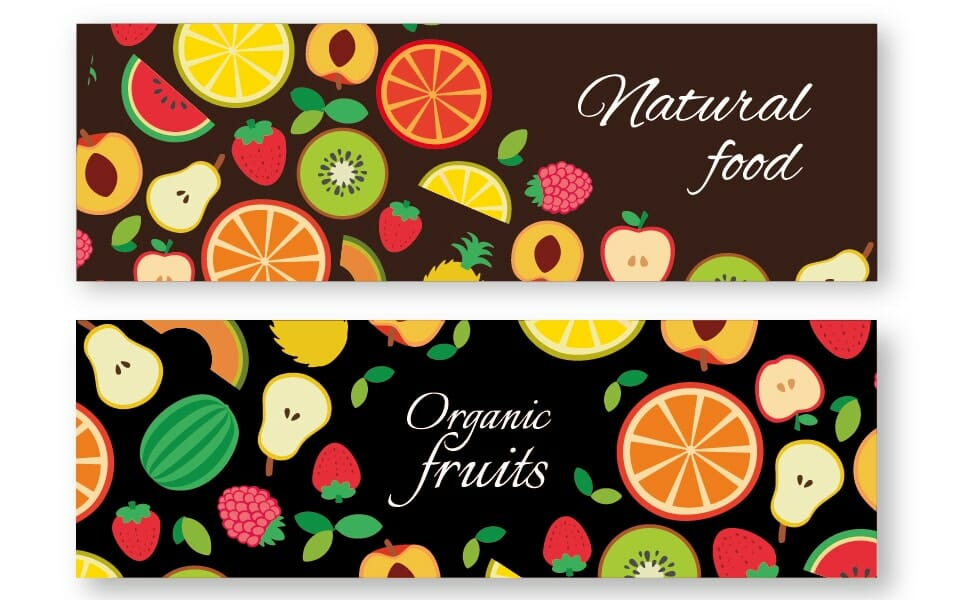 Organic fruit banner set