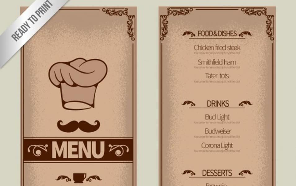 Ornamental menu template
