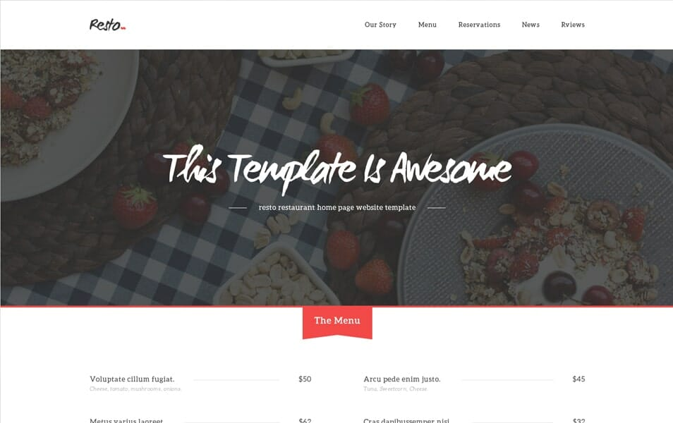 Resto – Free Beautiful Restaurant PSD Home Page Website Template