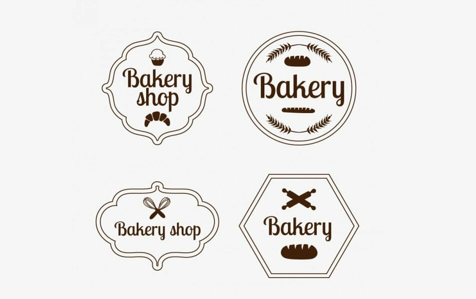 Set of Vintage Bakery Badges