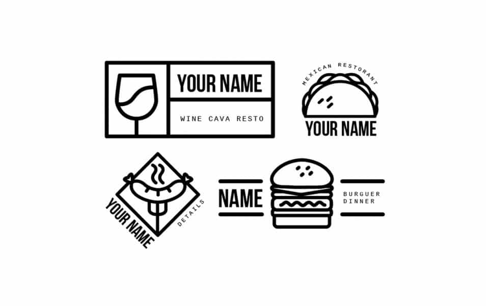 Simple lineal restaurant logos