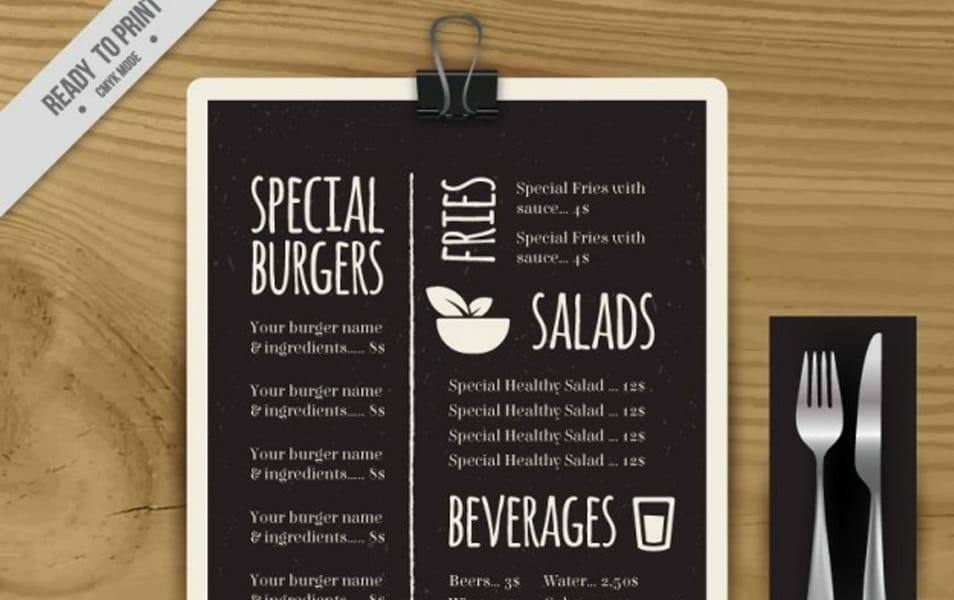 Special menu template in blackboard