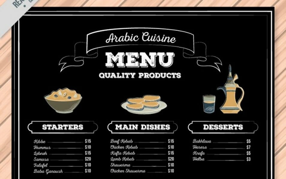 Blackboard arabic food menu