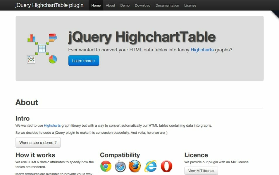jQuery HighchartTable