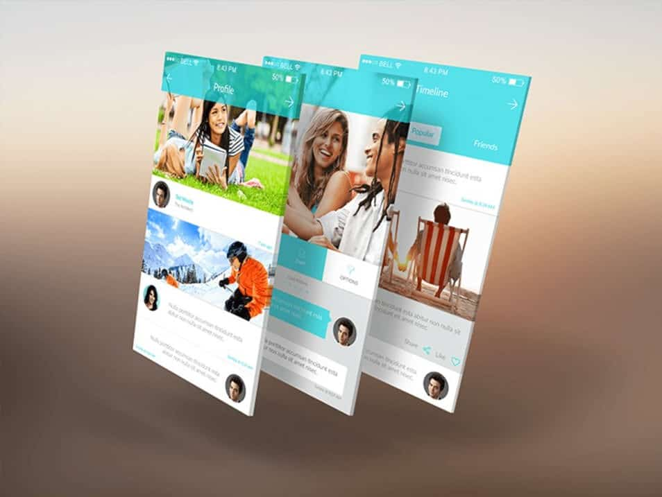 3D Mobile App Screens Mock-Up