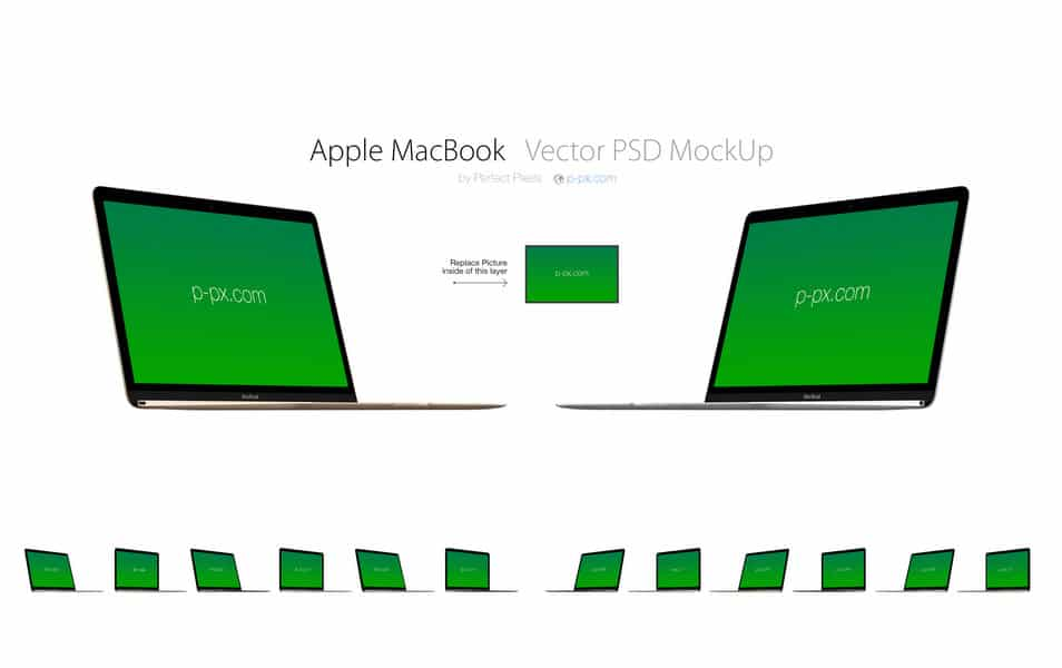 Apple MacBook 2015 Retina PSD + AI MockUp (Angled)