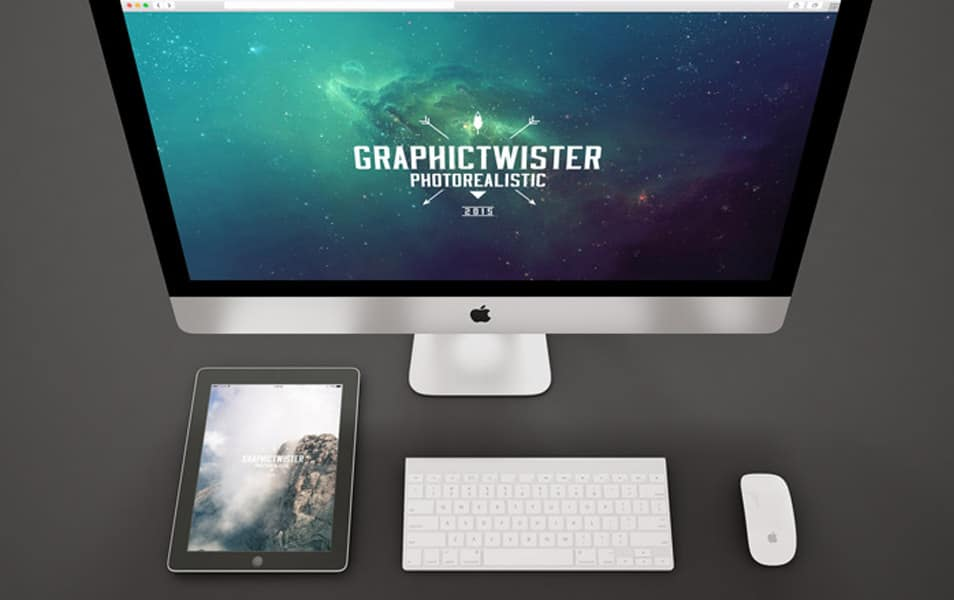 Black iPad and iMac Mockup