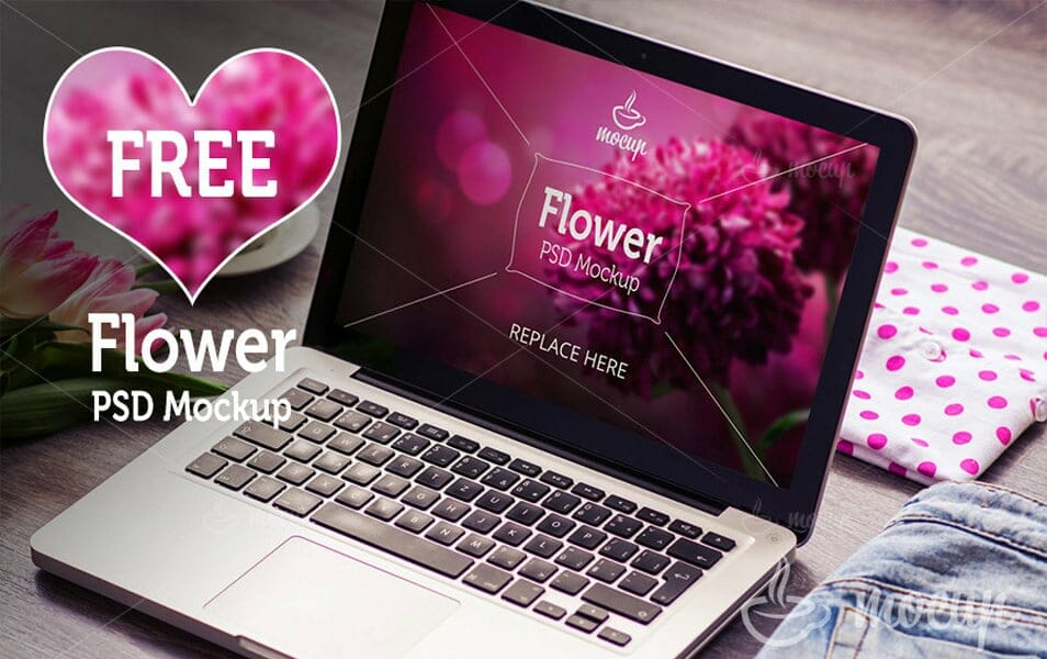 Free Macbook Pro PSD Mockup Flower