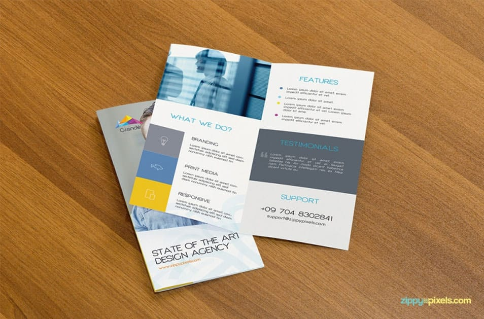Free Professional PSD Mockup of Two Bifold Flyers
