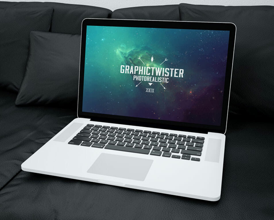 Mac Book Mockup on Sofa