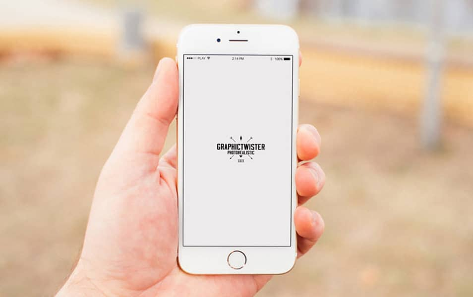 Man Hand Iphone 6 Mockup Blurred