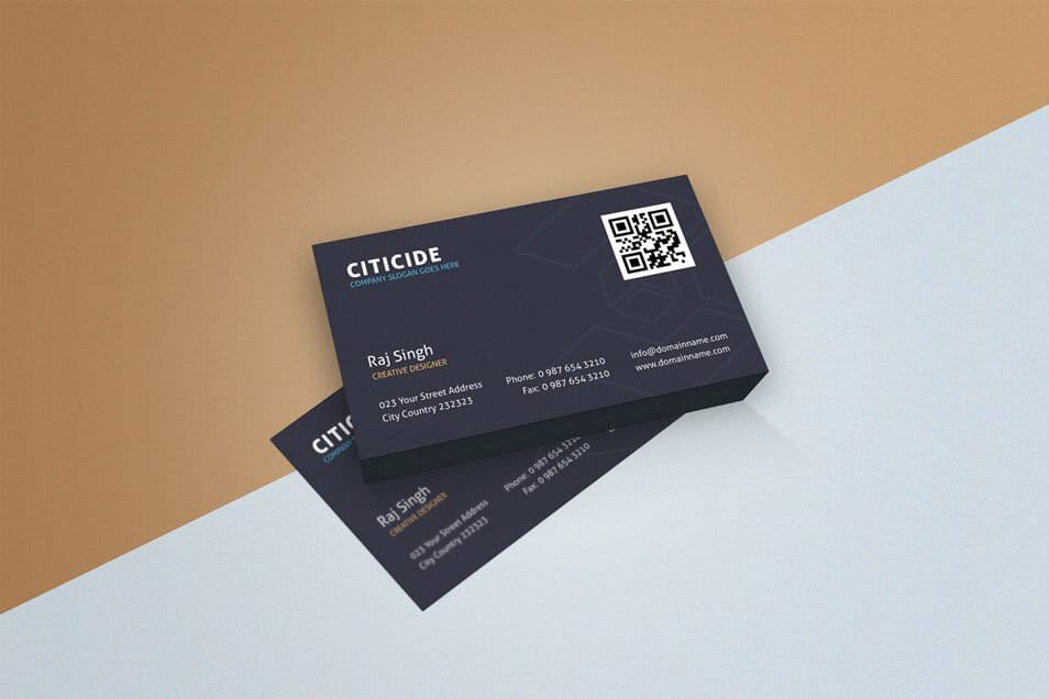 Simple and Elegant Business Card Design Template and Mockup PSD