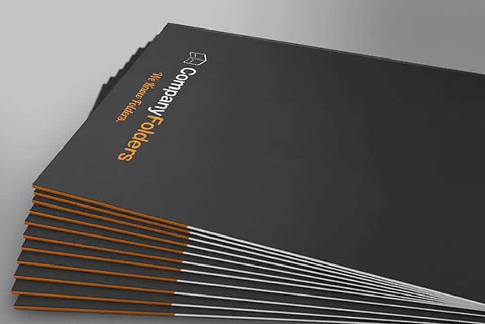 Stacked Side View Folder Mockup Template